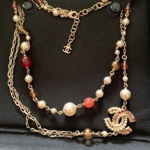 Authentic Chanel Logo Necklace Classic CC Necklace